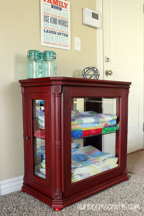 Quilt Cabinet Makeover with DIY Chalk Paint | AuntieEmsCrafts.com