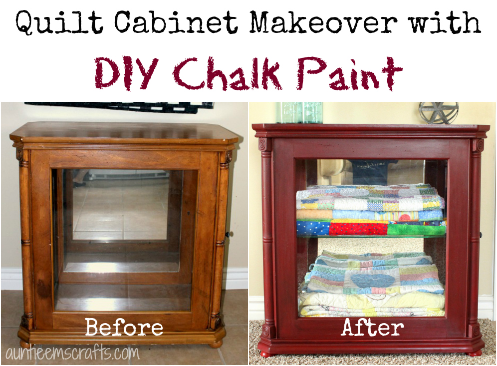 This quilt cabinet got an easy makeover with DIY chalk paint | AuntieEmsCrafts.com