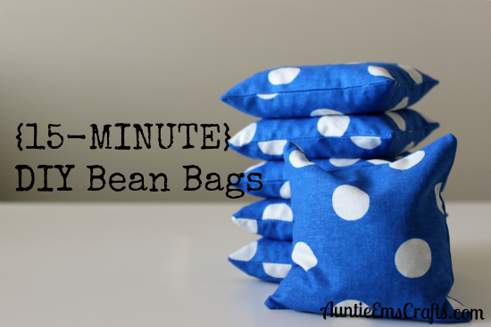 For less than $5 you can make a set of DIY bean bags to match your game board with just one fat quarter. It only takes 15 minutes to make each one! | AuntieEmsCrafts.com