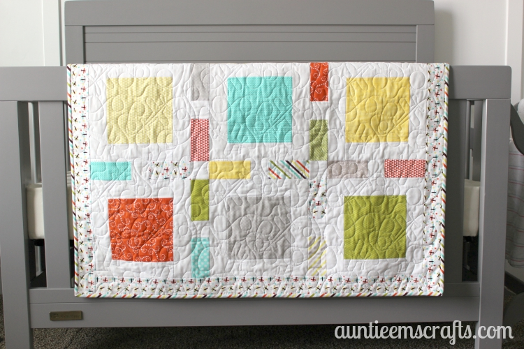 Oh Boy Baby Quilt on AuntieEmsCrafts.com. Riley Blake Oh Boy fabrics in a small Framed pattern by Camille Roskelley. Love it!
