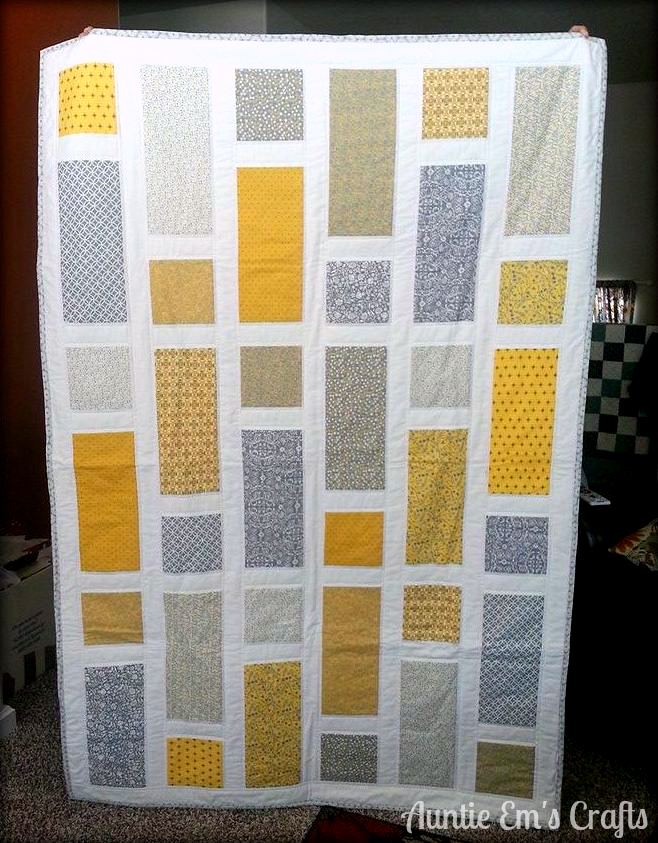 Yellow and Gray lap quilt by AuntieEmsCrafts.com