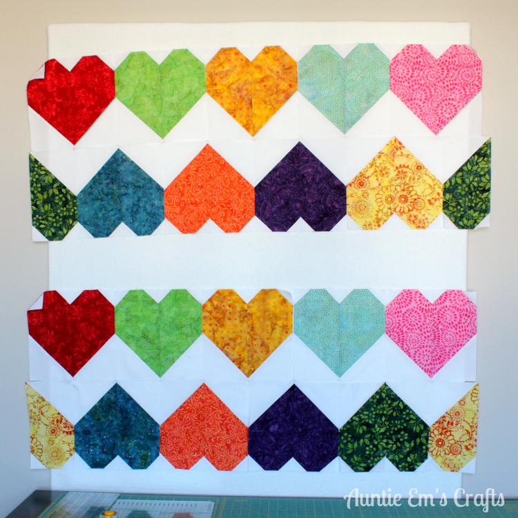 Tula Pink Paper Hearts Quilt in Batiks by AuntieEmsCrafts.com