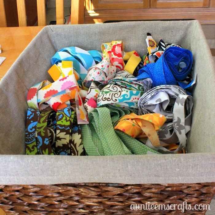 Making Fabric Yarn from Scraps | AuntieEmsCrafts.com