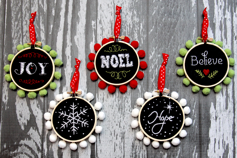 Chalk Hoop Ornaments by Flamingo Toes