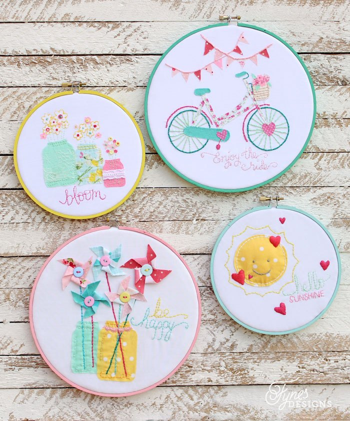 Summer Inspired Embroidery Hoop Art, Copyright 2014 Fynes Designs
