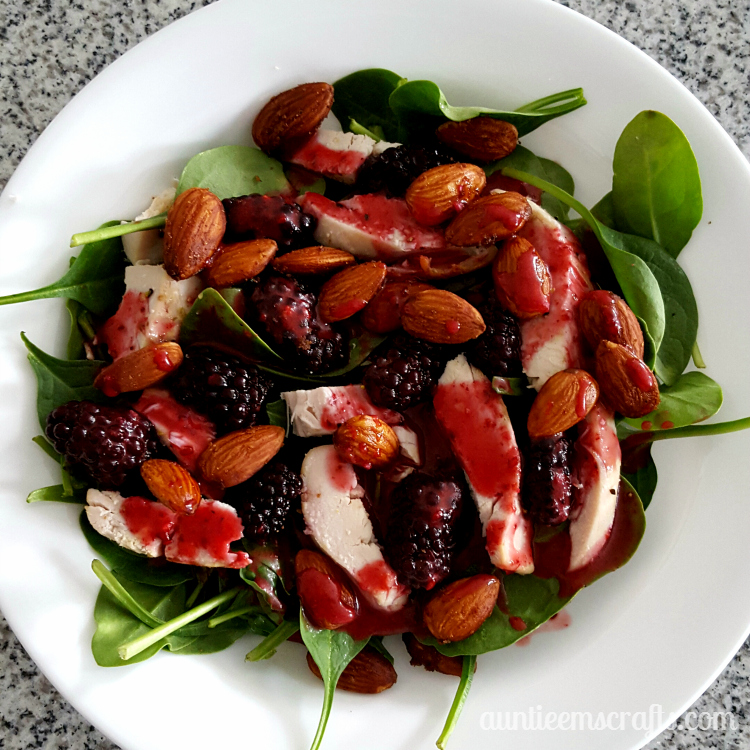 Summer Strawberry Salad with Candied Nuts and Homemade Dressing . | AuntieEmsCrafts.com Try it with blackberries and almonds for a delicious alternative!